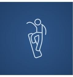 Man snowboarding line icon vector image vector image