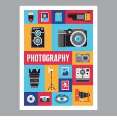 Photography - mosaic flat design poster vector image