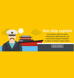 sea ship captain banner horizontal concept vector image vector image