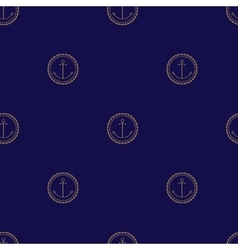 Seamless Pattern with Anchor on a Navy Background vector image vector image