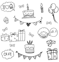 Set party birthday doodle vector