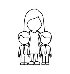 Silhouette woman her boys twins icon vector