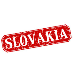 Slovakia red square grunge retro style sign vector