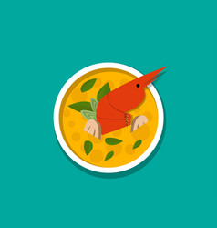 Thai shrimp soup - tom yum kung top view vector