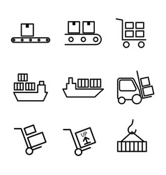 thin line warehouse logistic icons vector image