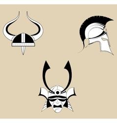 Three helmet icons vector image vector image