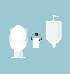 Toilet bowl and urinal in bathroom vector