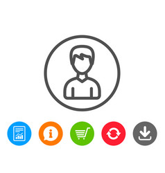 User line icon male profile sign vector