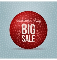 Valentines day big sale red realistic ball vector