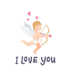 valentines day greeting card with funny cupid with vector image