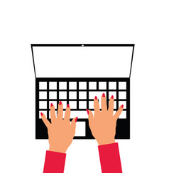 woman hands on laptop vector image