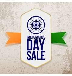 Independence day sale tag with ribbon vector