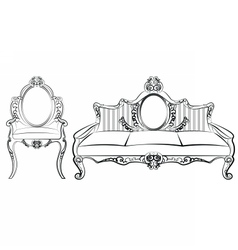 Chair and sofa furniture set with ornaments vector
