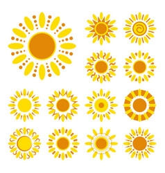 Set of daisy icons isolated silhouettes of simple vector