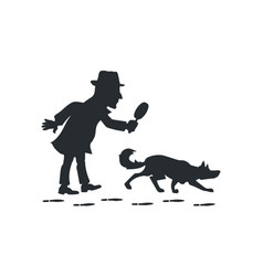Detective with magnifying glass and tracker dog vector