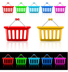 icons with shopping baskets on white and black vector image