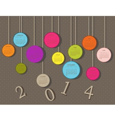 Calendar for 2014 year with circles different colo vector image