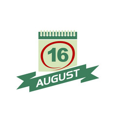 16 august calendar with ribbon vector image vector image