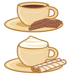 Cups of coffee with a chocolate and cream vector
