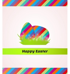 Happy easter with striped eggs in grass vector