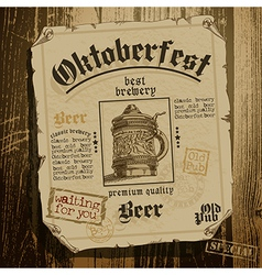 Beer background oktoberfest vector