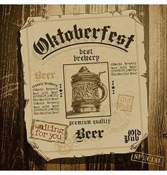 beer background Oktoberfest vector image