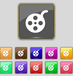 Film icon sign Set with eleven colored buttons for vector image