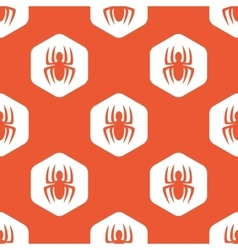 Orange hexagon spider pattern vector