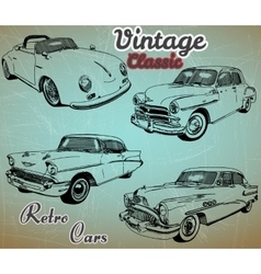 Collection of retro cars vector