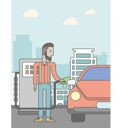 Man filling up fuel into car vector image