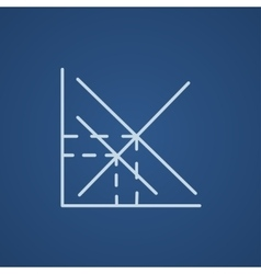Mathematical graph line icon vector