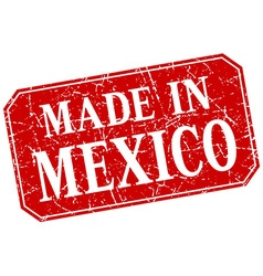 Made in mexico red square grunge stamp vector