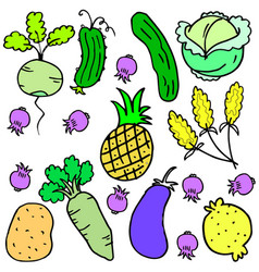 art of vegetable set various doodles vector image vector image