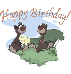 Bears happy birthday postcard vector image vector image