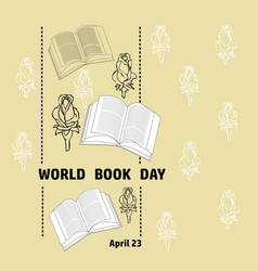 Black and white book rose and text word book day vector