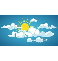 Blue sky sun and white clouds vector image