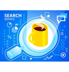bright search glass and coffee on blue backg vector image vector image