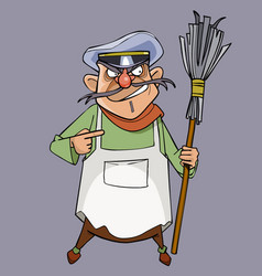 Cartoon evil male janitor with a broom in hand vector