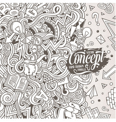 Cartoon hand-drawn doodles concept vector