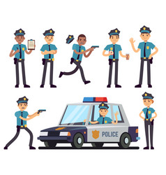 Cartoon policewoman and policeman characters in vector