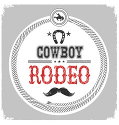 cowboy rodeo label with cowboy decotarion vector image vector image