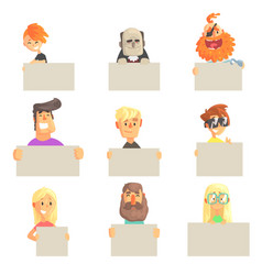 Different people holding blank boards set smiling vector