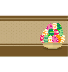 Easter egg on basket greeting card vector