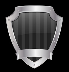 empty shield with metallic frame vector image
