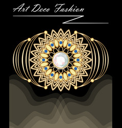 expensive art deco filigree brooch in with vector image