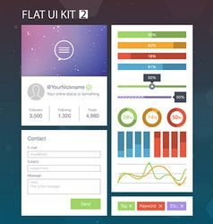Flat User Interface Kit for web and mobile 2 vector image vector image
