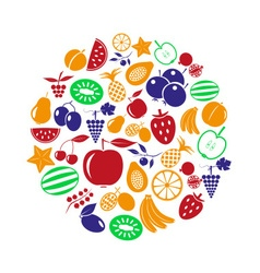 fruit theme color various fruits simple icons in vector image