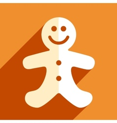 Gingerbread man christmas flat icon vector