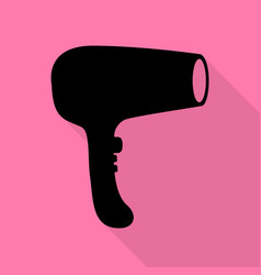 hair dryer sign black icon with flat style shadow vector image vector image