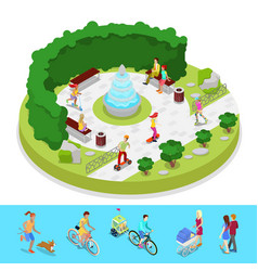 isometric city park composition with active people vector image vector image